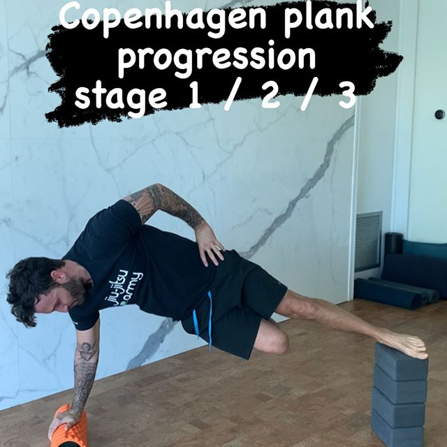 Copenhagen planks = adduction w isometric tension + oblique/midsection stability +shoulder stability
