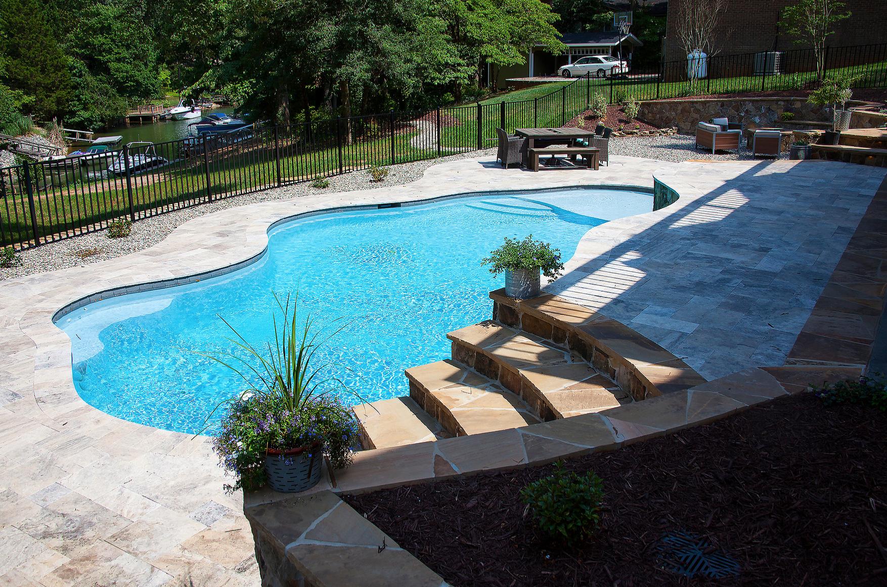 Custom Inground Concrete Pools Installed in Cornelius North Carolina with CPC Pools 704-799-5236