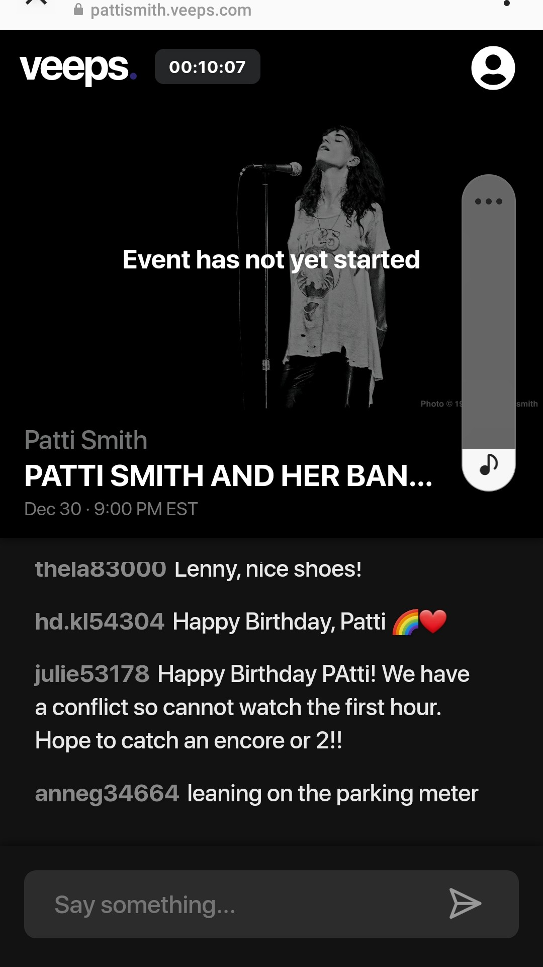 Patti Smith about to go live