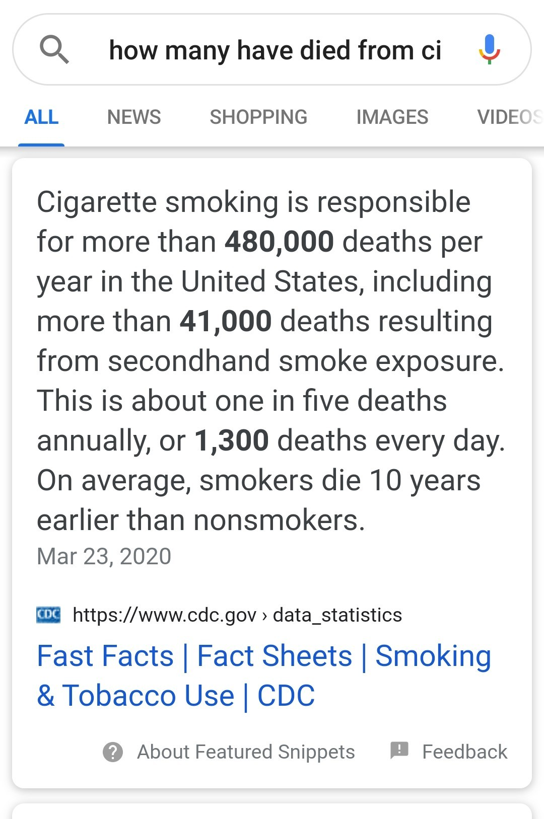 Smoking Cigarettes responsible for more deaths than Covid-19