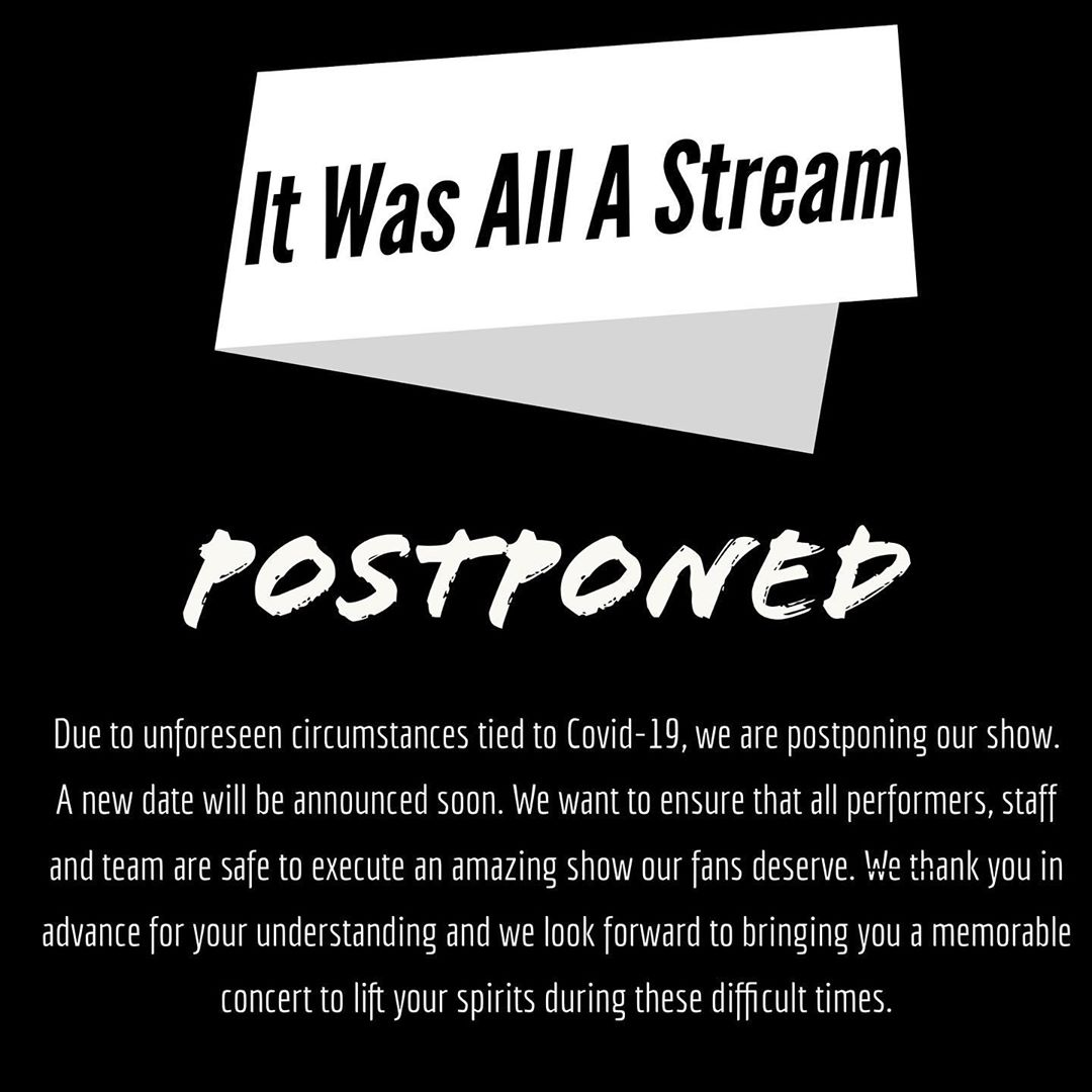 It was all a stream is POSTPONED for now due to COVID. Keep tuned - Layzie Bone