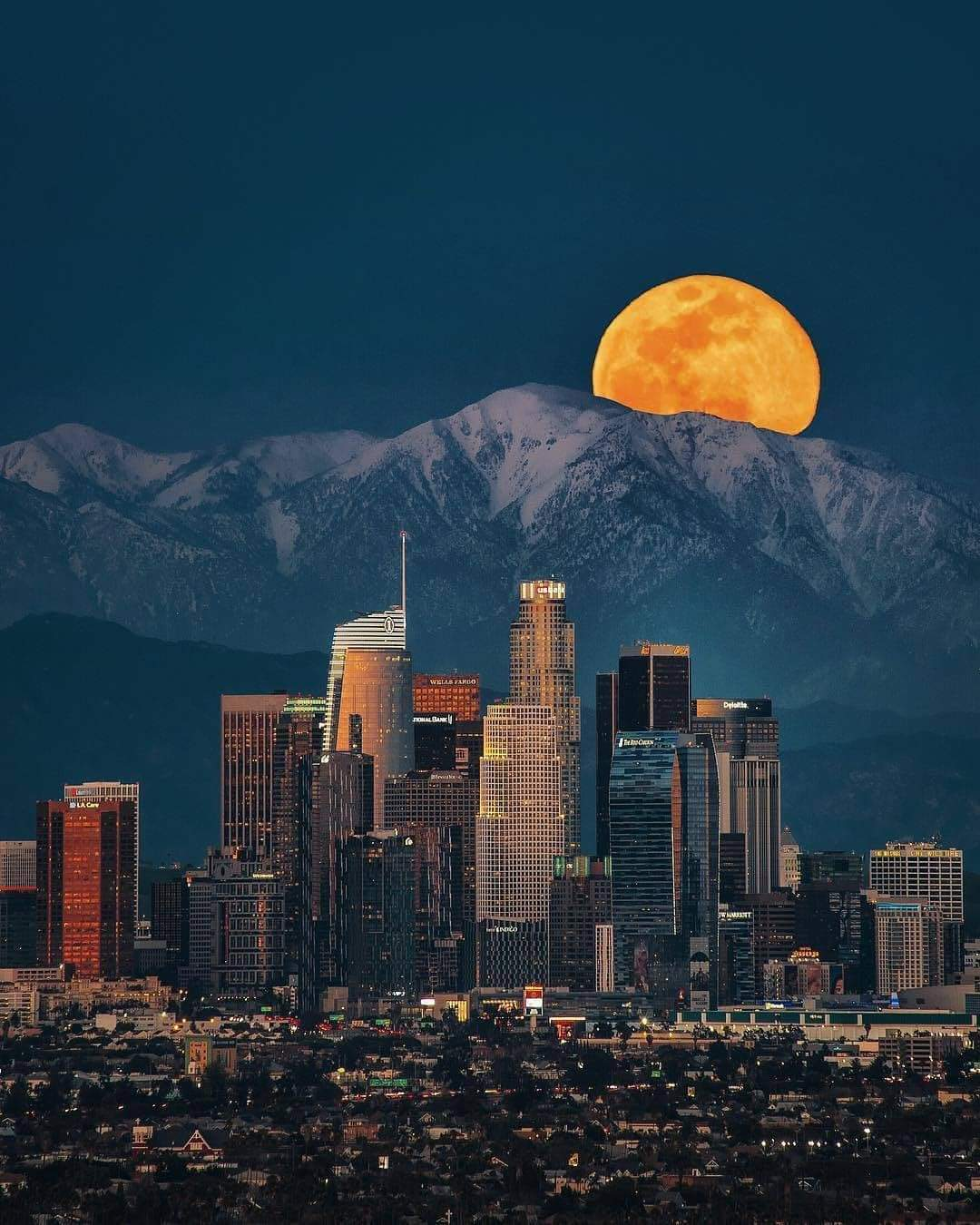 Moonrise in Los Angeles, California.