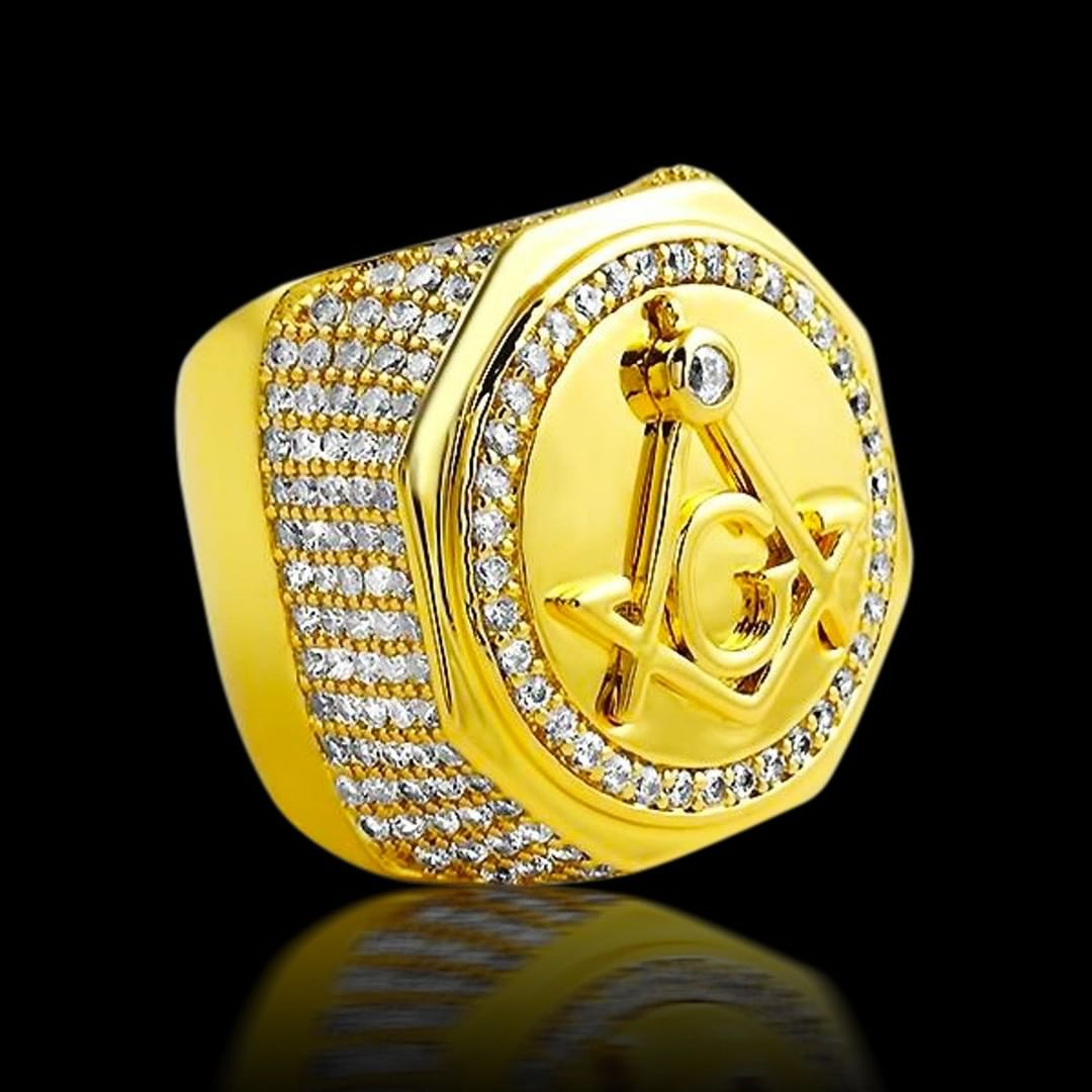 You ballin' in secrecy? Our large Masonic gold ring is as baller as they come - Hip Hop Bling