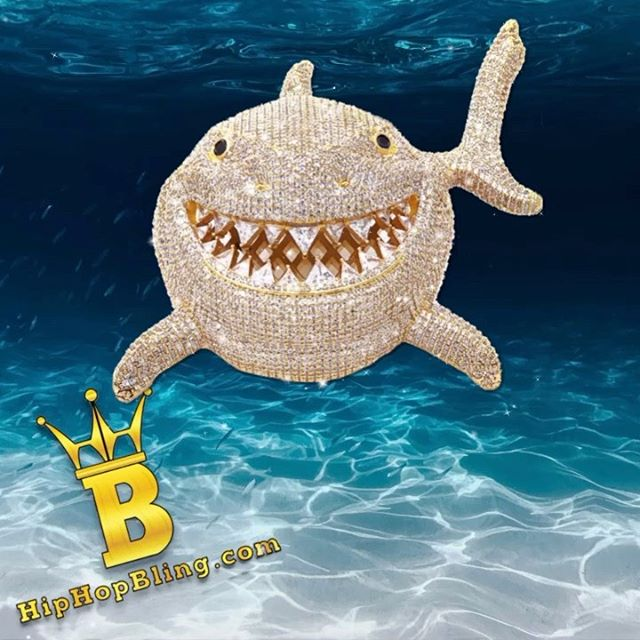 Extra large iced out shark piece from Hip Hop Bling, get yours from HipHopBling.com