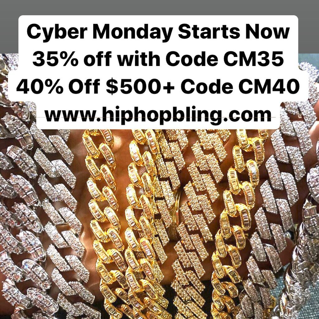 Cyber Monday Sales extended for 1 day!! Get your iced out jewelry from Hip Hop Bling