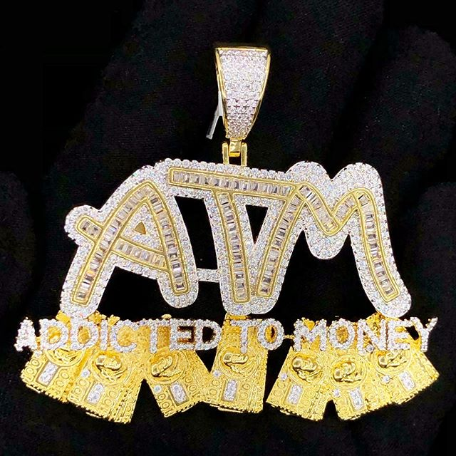 Custom addicted to money pendant, yours today when you order from HipHopBling.com