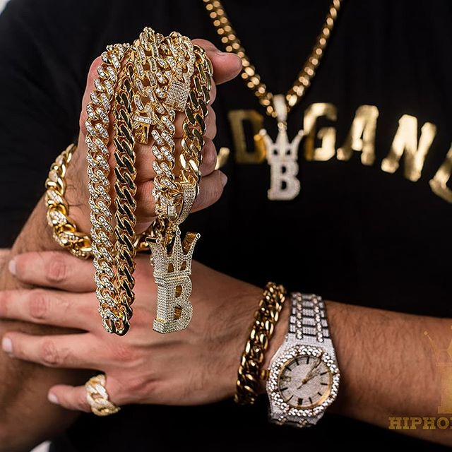 Cuban link chain gains with the gang, get yours today at HipHopBling.com