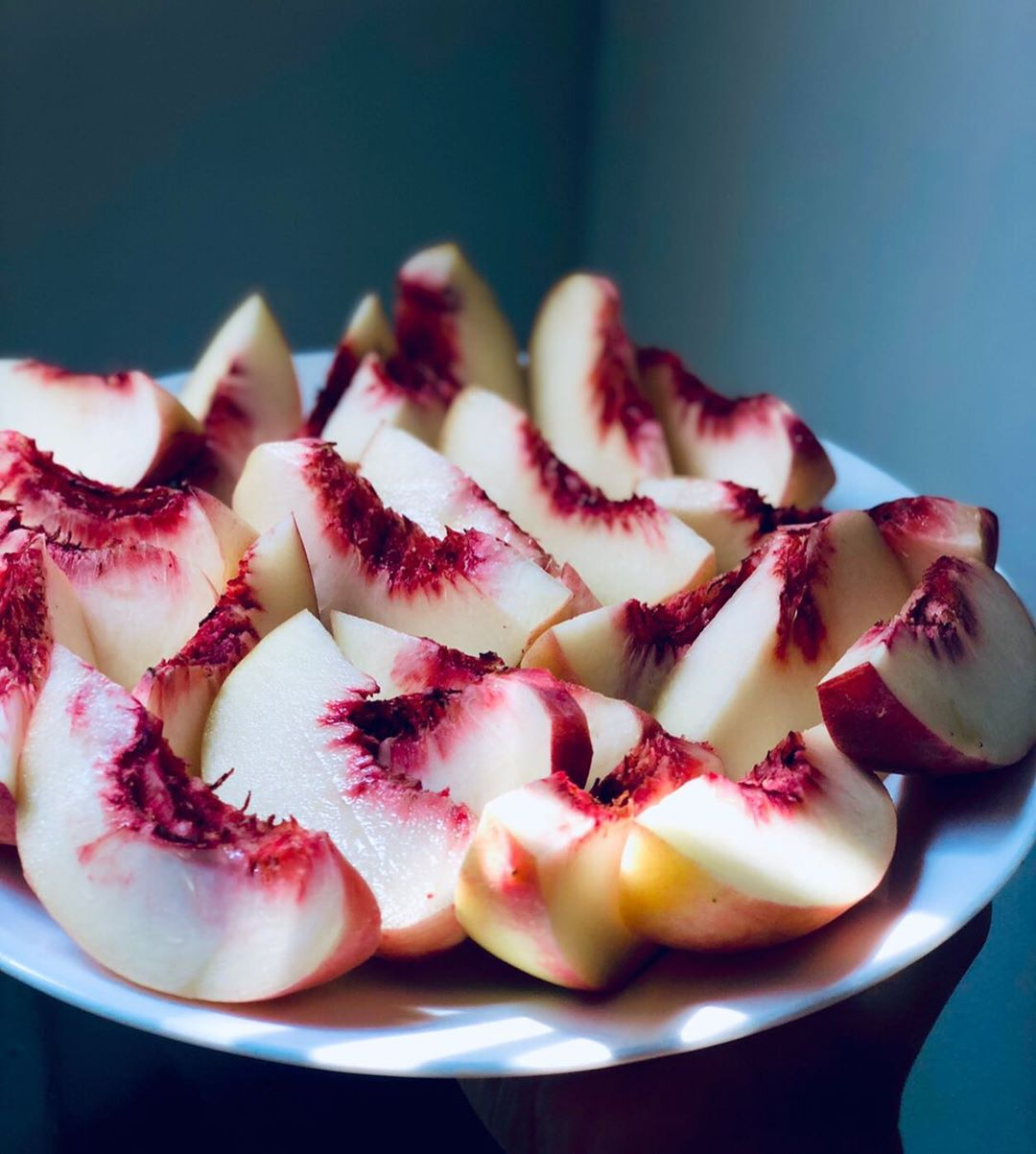 White peaches from Whole Foods are the freshest and BEST! - Elle Valentine